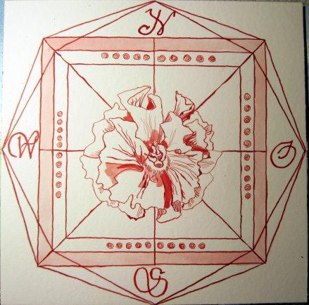 Windrose Feuer - Zeichnung von Susanne Haun - 25 x 25 cm - Tusche auf Bütten