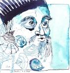 Wassermann Version 2 - Zeichnung von Susanne Haun - 20 x 20 cm - Tusche auf Bütten