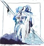 Wassermann Version 3 - Zeichnung von Susanne Haun - 20 x 20 cm - Tusche auf Bütten