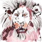 Löwe frontal- Zeichnung von Susanne Haun - 20 x 20 cm - Tusche auf Bütten
