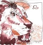 Löwe nach rechts schauend - Zeichnung von Susanne Haun - 20 x 20 cm - Tusche auf Bütten