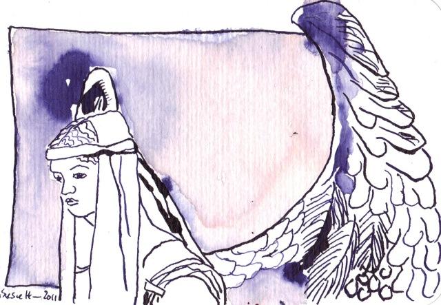 Engel - Zeichnung von Susanne Haun - Tusche auf Bütten - 15 x 10 cm auf Hahnemühle Bütten
