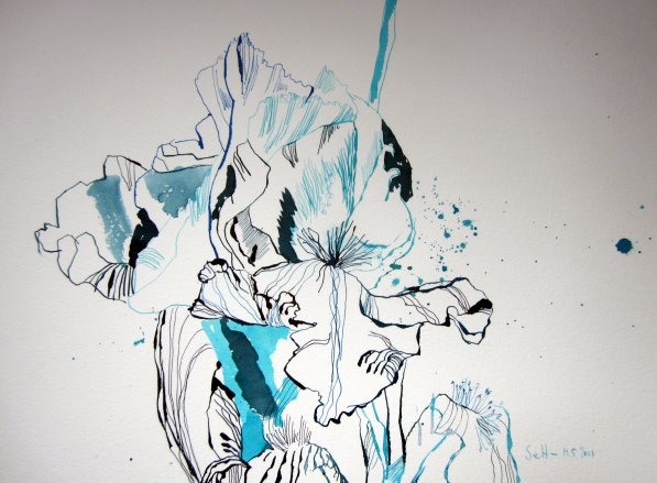 Lilienblüte - Zeichnung von Susanne Haun - 26 x 36 cm - Tusche auf Bütten