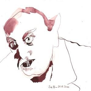 Max Schreck als Nosfratur - Zeichnung von Susanne Haun - 20 x 20 cm - Tusche auf Bütten