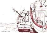 Fischerboote in Warnemünde - Zeichnung von Susanne Haun - 17 x 22 cm - Tusche auf Bütten