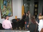 Hier habe ich mit der braunen Standardgraph Tusche neben Acryl auf der großen Leinwand gearbeitet - Susanne Haun