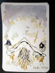 Amsel 2 - Zeichnung von Susanne Haun - 10 x 15 cm - Tusche auf Hahnemühle Bütten