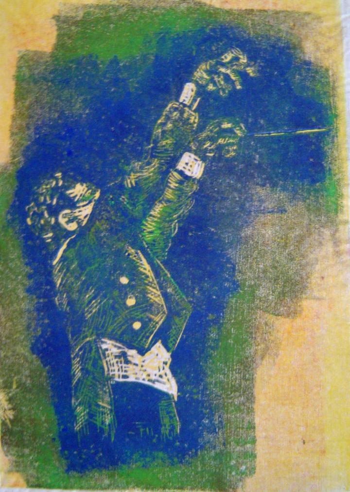 1999 - Dirigent - Linoldruck von Susanne Haun - 20 x 15 cm