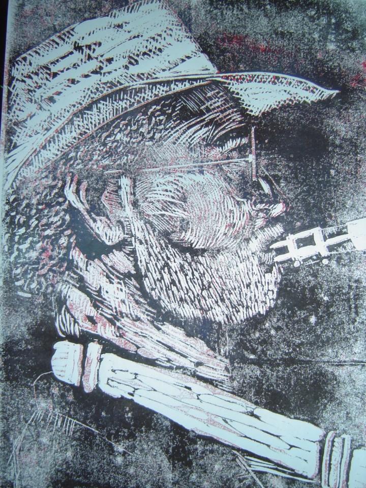 1999 - Saxophonist - Linoldruck von Susanne Haun - 30 x 20 cm