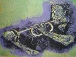 1999 - Trompeter - Linoldruck von Susanne Haun - 20 x 30 cm