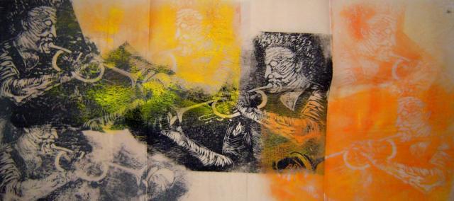1999 Trompeter mehrfache gedruckt 30 x 60 cm - Linoldruck von Susanne Haun