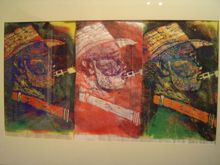1999 Saxophonist mehrfache gedruckt 300 x 60 cm - Linoldruck von Susanne Haun