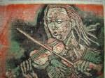 1999 - Geigerin - Linoldruck von Susanne Haun - 20 x 30 cm
