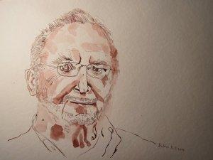 Herr Richter schaut uns an - Zeichnung von Susanne Haun - 36 x 48 cm - Tusche auf Bütten