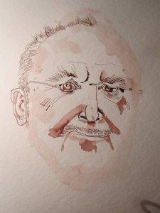 Herr Richter schaut uns an - Entstehung Zeichnung von Susanne Haun