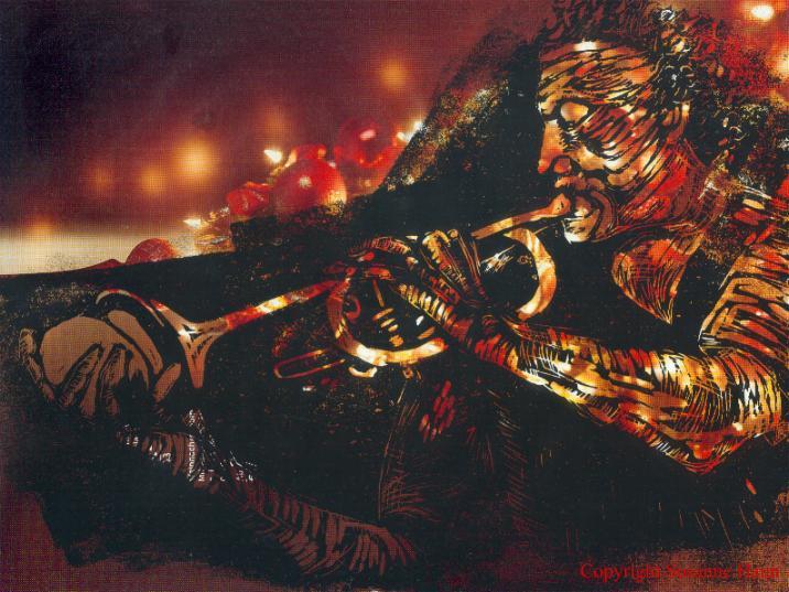 1999 - Linolschnitt Trompeter auf Karstadt Prospekt - Linoldruck von Susanne Haun - 20 x 30 cm