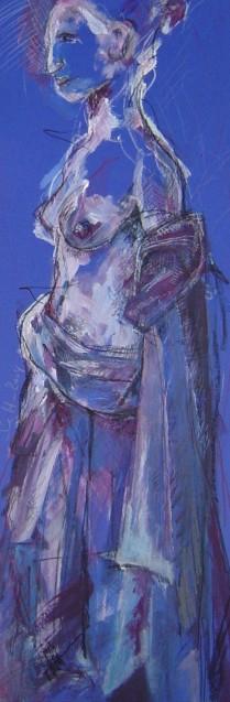 2004 - Neptunbrunnen - Susanne Haun - 70 x 25 cm - Acryl und Ölkreide auf Tonkarton