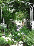 Überall weiße Gestelle, an denen sie die Pflanzen festhalten können - Foto von Susanne Haun
