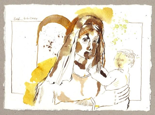 Mutter und Kind - Zeichnung von Susanne Haun - 15 x 20 cm - Tusche auf Bütten