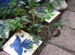 Die kleinen Details sind es - wie hingeworfen liegen zwischen den Terassensteinen blau-weise Fliesen - Foto von Susanne Haun
