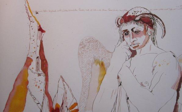 Asasel an der Pforte zur Hölle - Zeichnung von Susanne Haun