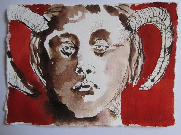 Asasel, als Urheber allen Bösen in der Welt - Zeichnung von Susanne Haun - 15 x 20 cm - Tusche auf Bütten