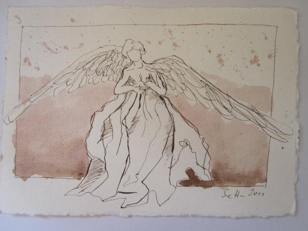 Engel - Zeichnung von Susanne Haun - 15 x 20 cm - Tusche auf Bütten