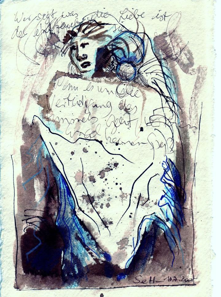 2005: Engel aus dem Buch Henoch 20 x 15 cm - 1. Reihe, Zeichnung von Susanne Haun