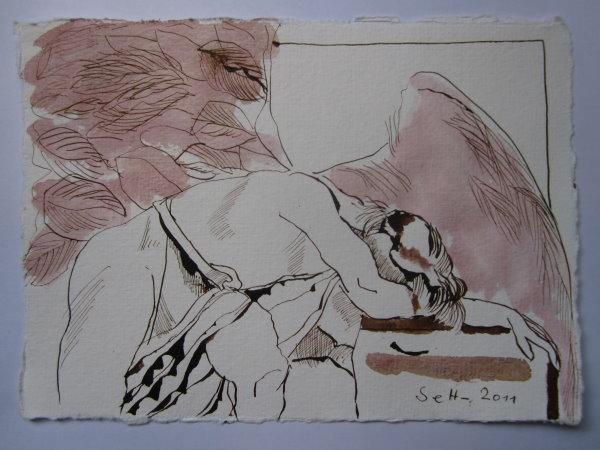 Feßle Asasel - Version 3 - Zeichnung von Susanne Haun - 15 x 20 cm - Tusche auf Bütten