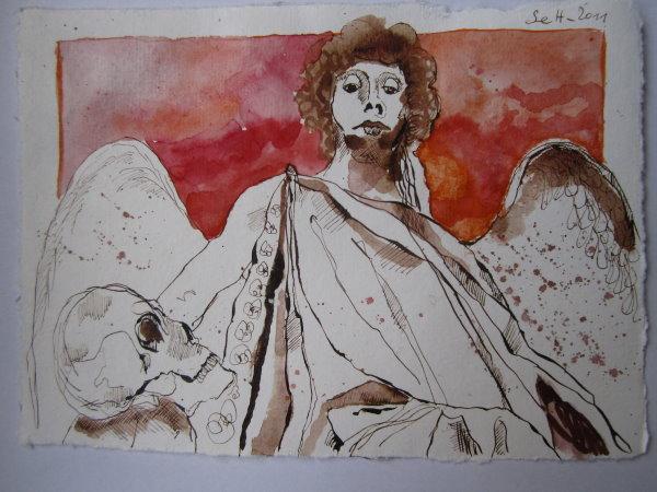 Erzengel Gabriel - Version 2 - Zeichnung von Susanne Haun - 20 x 15 cm - Tusche auf Bütten