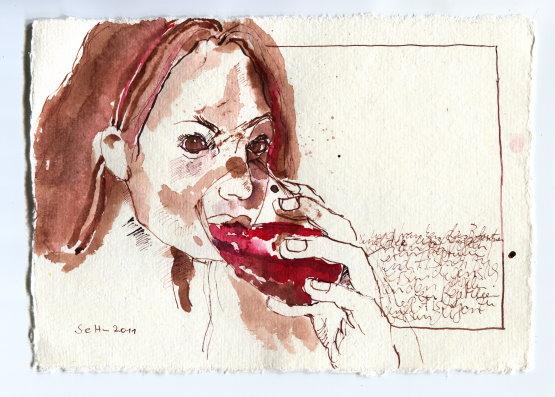 Sie tranken - Zeichnung von Susanne Haun - 15 x 20 cm - Tusche auf Bütten