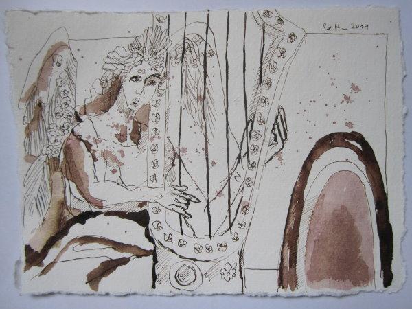 Ein Engel spielt vor der Pforte des Himmels - Zeichnung von Susanne Haun - 20 x 15 cm - Tusche auf Bütten