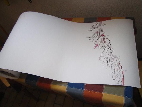 Glockenblumen im Paradies - Zeichnung von Susanne Haun - Ausschnitt aus 1000 x 40 cm - Tusche auf Bütten -