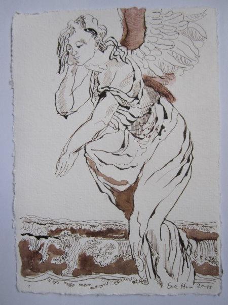 Uriel, sage: Verberg dich! - Zeichnung von Susanne Haun - 20 x 15 cm - Tusche auf Bütten