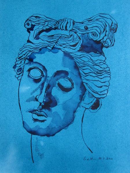 Venus von Nimes - Zeichnung von Susanne Haun - 40 x 30 cm - Tusche auf eingefärbtes Hahnemühle Bütten