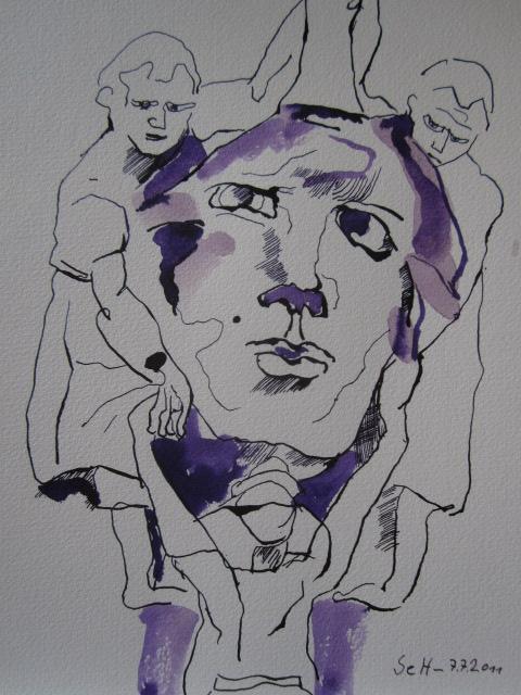Die Säulenträgerin des Verwaltungsgerichtes Düsseldorf - Version 1 - Zeichnung von Susanne Haun - 30 x 24 cm - Tusche auf Bütten
