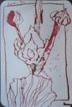 Stockrosen Version 1 - Zeichnung von Susanne Haun - 15 x 10 cm - Tusche auf Hahnemühle - Bütten