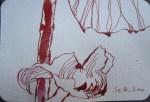 Stockrosen Version 4 - Zeichnung von Susanne Haun - 15 x 10 cm - Tusche auf Hahnemühle - Bütten