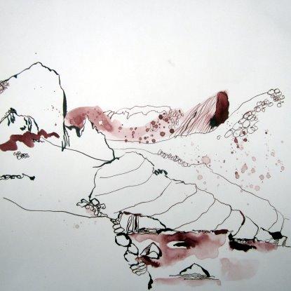 Landschaft - Zeichnung von Susanne Haun - 30 x 30 cm - Tusche auf Bütten