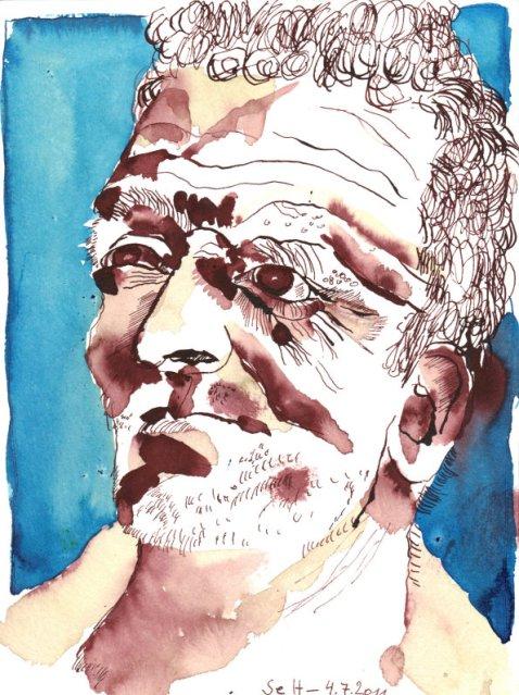 Pater - Zeichnung von Susanne Haun - 24 x 17 cm - Tusche auf Bütten
