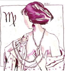 Jungfrau Version 2 - Zeichnung von Susanne Haun - 20 x 20 cm - Tusche auf Bütten
