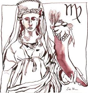 Jungfrau - Zeichnung von Susanne Haun - 20 x 20 cm - Tusche auf Bütten