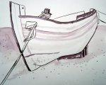 Boot am Strand - Zeichnung von Susanne Haun - 24 x 32 cm - Tusche auf Bütten