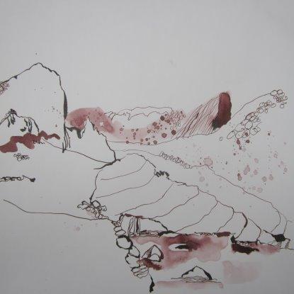 Die Küste - Zeichnung von Susanne Haun -20 x 20 cm - Tusche auf Bütten