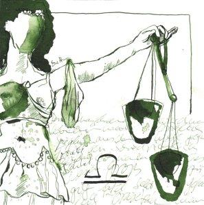 Waage Vers. 1 - Zeichnung von Susanne Haun - 20 x 20 cm - Tusche auf Bütten