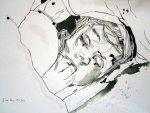 Unter dem Kissen - Zeichnung von Susanne Haun - 40 x 30 cm - Tusche auf Bütten