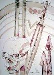 Zwei Speere und weinen Schild und sein Schwert - Zeichnung von Susanne Haun - 40 x 30 cm - Tusche auf Bütten