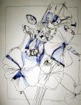 Phlox - Zeichnung von Susanne Haun - 60 x 55 cm - Tusche auf Bütten