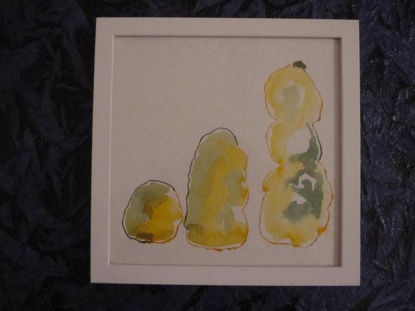 Gerahmter gelber Farbkörper - Zeichnung von Susanne Haun - 20 x 20 cm - Tusche auf Bütten