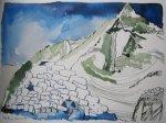 Das ist auch der Weisse Carn von Sliab Moduirn - Zeichnung von Susanne Haun - 40 x 30 cm - Tusche auf Bütten